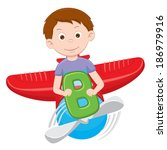 cartoon boy on a plane | Shutterstock .eps vector #186979916