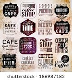 retro coffee  labels and... | Shutterstock . vector #186987182