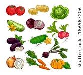 hand drawing vegetables set | Shutterstock .eps vector #186987206