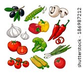 hand drawing vegetables set | Shutterstock .eps vector #186987212