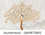 3d Tree With Pink Roses  Wood...