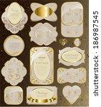 gold white card  label set... | Shutterstock . vector #186987545