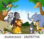wild animal cartoon | Shutterstock . vector #186987746