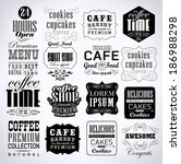 retro coffee  labels and... | Shutterstock . vector #186988298