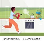 afro american woman running... | Shutterstock .eps vector #1869913255