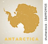 Antarctica Map. Country Poster...