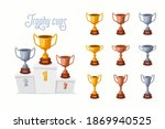 trophy cups on a podium. gold ...   Shutterstock .eps vector #1869940525