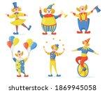 cute clowns set. circus and...   Shutterstock .eps vector #1869945058