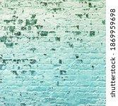 White Brick Wall Peeling Green...