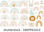 abstract doodles. baby animals... | Shutterstock .eps vector #1869961612