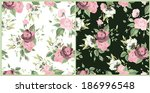 set of seamless floral patterns ... | Shutterstock .eps vector #186996548
