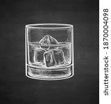 glass of whiskey with ice.... | Shutterstock .eps vector #1870004098