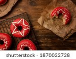 Christmas Donuts Over A Wooden ...