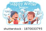 two kids girl and boy... | Shutterstock .eps vector #1870033795