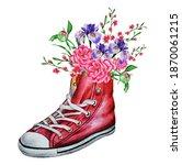 floral background of peonies ... | Shutterstock . vector #1870061215