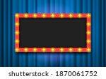 frame with light bulbs on blue... | Shutterstock .eps vector #1870061752
