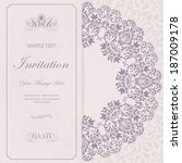 beautiful floral invitation... | Shutterstock .eps vector #187009178