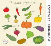 set of doodle vegetables.... | Shutterstock .eps vector #187011026