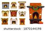 christmas fireplace cartoon... | Shutterstock .eps vector #1870144198