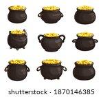 pot of golden coins isolated... | Shutterstock .eps vector #1870146385