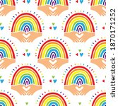 rainbow pattern love background ...   Shutterstock .eps vector #1870171252