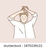 woman tied her hair in a... | Shutterstock .eps vector #1870238122