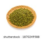 Mung Beans In Basket Isolated...