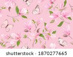 watercolor magnolia floral... | Shutterstock .eps vector #1870277665