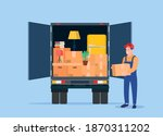 delivery service concept.... | Shutterstock .eps vector #1870311202