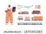 logistic transportation set of... | Shutterstock .eps vector #1870341085
