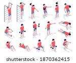 workout exercise set for men  ... | Shutterstock .eps vector #1870362415