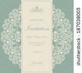 beautiful floral invitation card | Shutterstock .eps vector #187038005
