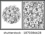 coloring pages set with cute... | Shutterstock .eps vector #1870386628