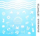 happy summer holiday sea icons... | Shutterstock .eps vector #187044716