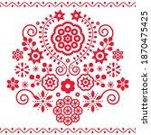 polish folk art vector pattern... | Shutterstock .eps vector #1870475425