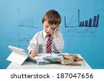 young boy  talking on the phone ... | Shutterstock . vector #187047656