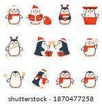 cartoon penguins dressed as...   Shutterstock .eps vector #1870477258
