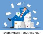 business man character sleep in ... | Shutterstock .eps vector #1870489702