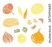 onion  garlic  bulbs and cloves ... | Shutterstock .eps vector #1870494685