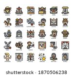 set of circus thin line and... | Shutterstock .eps vector #1870506238