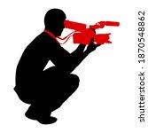 cameraman with video camera.... | Shutterstock . vector #1870548862