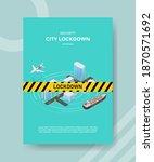 security city lock down warning ... | Shutterstock .eps vector #1870571692