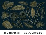 drawn tropical golden leaves.... | Shutterstock .eps vector #1870609168