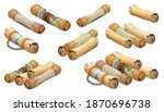 royal scroll decorated with... | Shutterstock .eps vector #1870696738