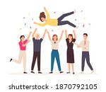 team throwing person in air.... | Shutterstock .eps vector #1870792105