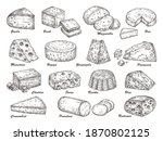 sketch cheese. hand drawn... | Shutterstock .eps vector #1870802125