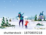 first snow. mother and daughter ... | Shutterstock .eps vector #1870805218