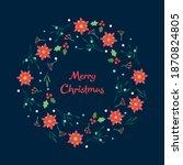christmas wreath with berries ... | Shutterstock .eps vector #1870824805