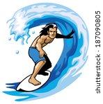 surfer on the barrel | Shutterstock .eps vector #187090805