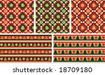 Christmas seamless backgrounds set / wallpapers or wrapping paper or background / vector - stock vector